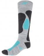 4F Ski Socks,  dam skidstrumpor, billiga, grå/turkos