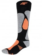4F Ski Socks, 2 par Billiga Skidstrumpor, Dam, Svart/Orange