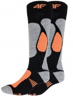 4F Ski Socks, billiga Dam skidstrumpor, 2-par, svart/orange