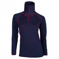 Ulvang 50Fifty turtle neck w/zip Ws, dam, New Navy/Persian Red