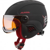 Alpina Carat LE, junior skidhjälm med visir, svart/röd