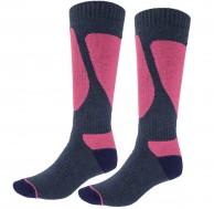 4F Ski Socks, Dam skidstrumpor, 2-par, blå/violet