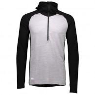Mons Royale Checklist Hood LS, skidundertröja herr, Black Grey Marl