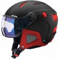 Alpina Attelas Visor VHM, skidhjälm med visir, svart/röd