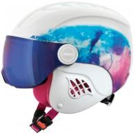 Alpina Carat LE, junior skidhjälm med visir, vit/blå