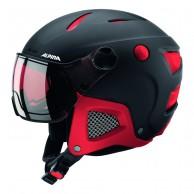 Alpina Attelas Visor QVM, skidhjälm med visir, svart/röd