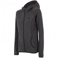 4F fleece jacka med huva, dam, mörkgrå