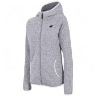 4F fleece jacka med huva, dam, ljusgrå