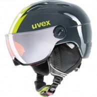 Uvex junior pro, skidhjälm med visir, titanium lime
