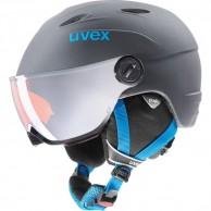 Uvex junior pro, skidhjälm med visir, titanium blå