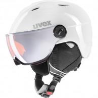 Uvex junior pro, skidhjälm med visir, vit/grå