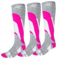 4F Ski Socks, 3 par billiga skidstrumpor, dam, rosa