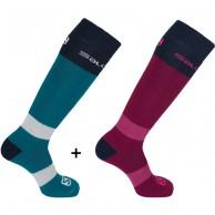 Salomon All Round ski sock, 2 pack, blå/röd