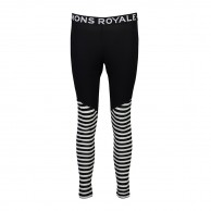Mons Royale Christy Legging, skidunderbyxor dam, Black/Thick Stribe