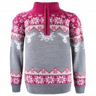Kama Astrid Merino Sweater, Barn, Grå/Pink