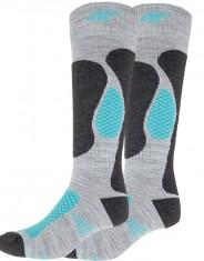 4F Ski Socks, billiga Dam skidstrumpor, 2-par, grå/turkos