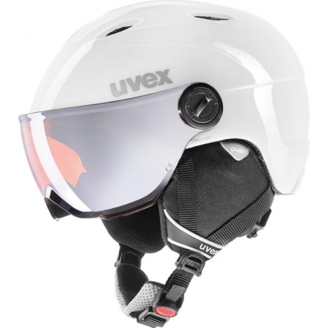 bc9042522 Uvex junior pro, skidhjälm med visir, vit/grå